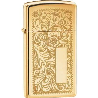 Зажигалка Zippo узкая VENETIAN HIGH POLISH BRASS 1652B