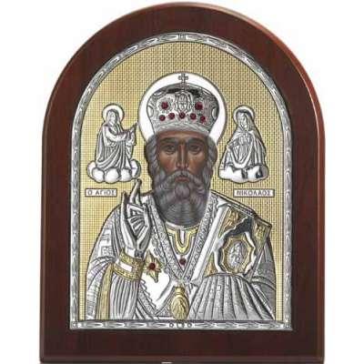 Серебряная Икона Leader Argenti Святой Николай 150х200 Swarovski 05.39279 OL