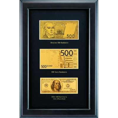 Золотая купюра Golden 500 EURO 100$ 500грн в рамке 016 HB