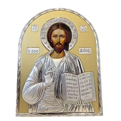 Серебряная Икона Leader Argenti Иисус Христос 110х145 Swarovski 05.B854.60D
