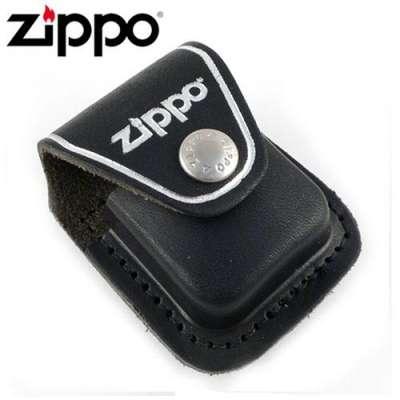 Чехол Zippo черный с клипсой LPCBK