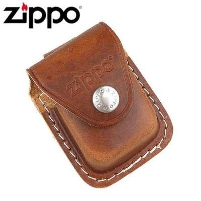 Чехол Zippo коричневый с петелькой на кнопке LPLB