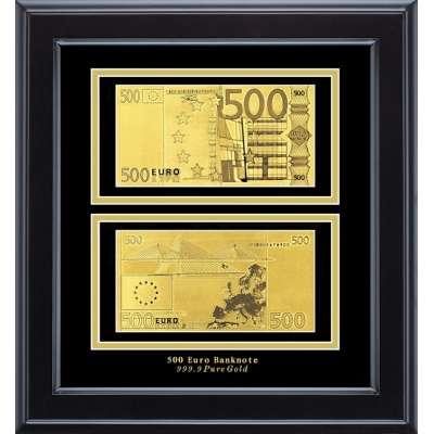 Золотая купюра Golden 500 EURO 2-сторонняя в рамке 092 HB