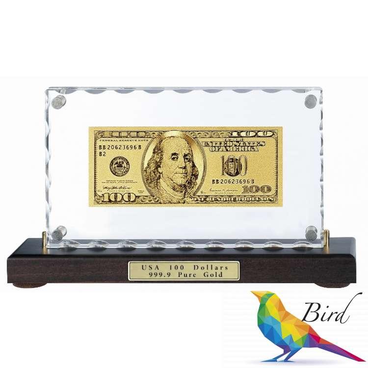 Фото Золотая купюра Golden 100 $ настольная акриловая 079 HB | Интернет магазин Bird.in.ua