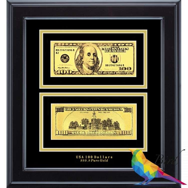 Фото Золотая купюра Golden 100$ 2-сторонняя в рамке 090 HB | Интернет магазин Bird.in.ua