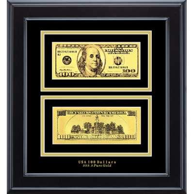 Золотая купюра Golden 100$ 2-сторонняя в рамке 090 HB