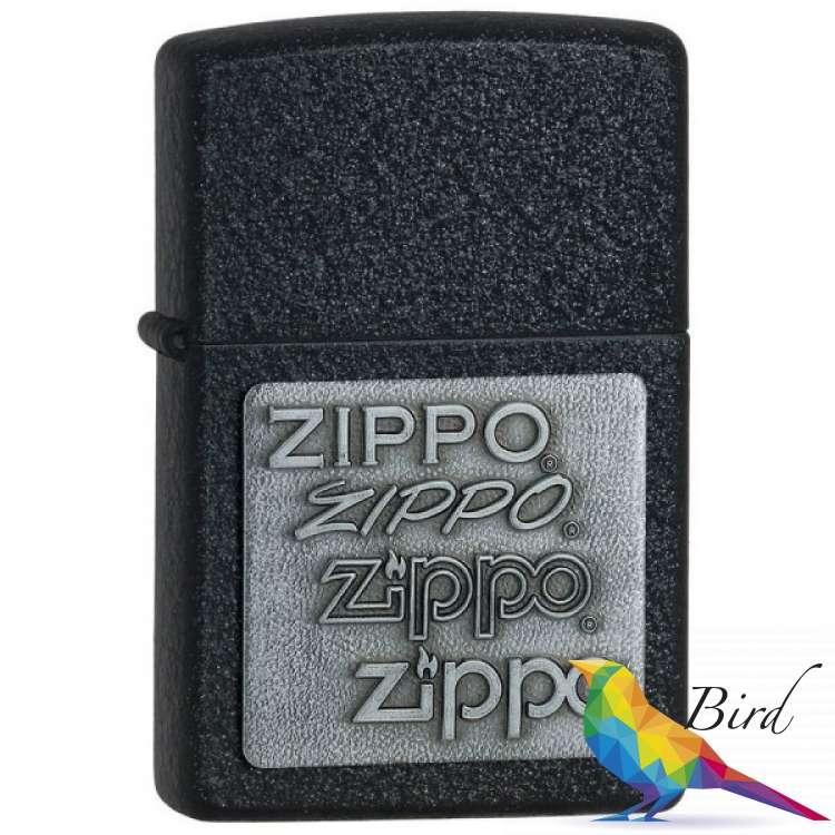 Фото Зажигалка Zippo PEWTER EMBLEM BLACK CRACKLE 363   Интернет магазин Bird.in.ua