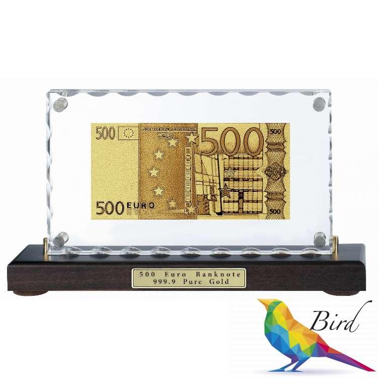 Фото Золотая купюра Golden 500 EURO настольная акриловая 059 HB | Интернет магазин Bird.in.ua