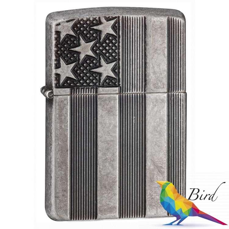 Фото Зажигалка Zippo U.S.Flag Armor Antq Silver 28974 | Интернет магазин Bird.in.ua