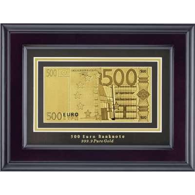 Золотая купюра Golden 500 EURO 1-сторонняя в рамке 045 HB
