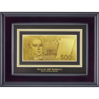 Золотая купюра Golden 500 грн одност. в дерев. рамке 170 HB