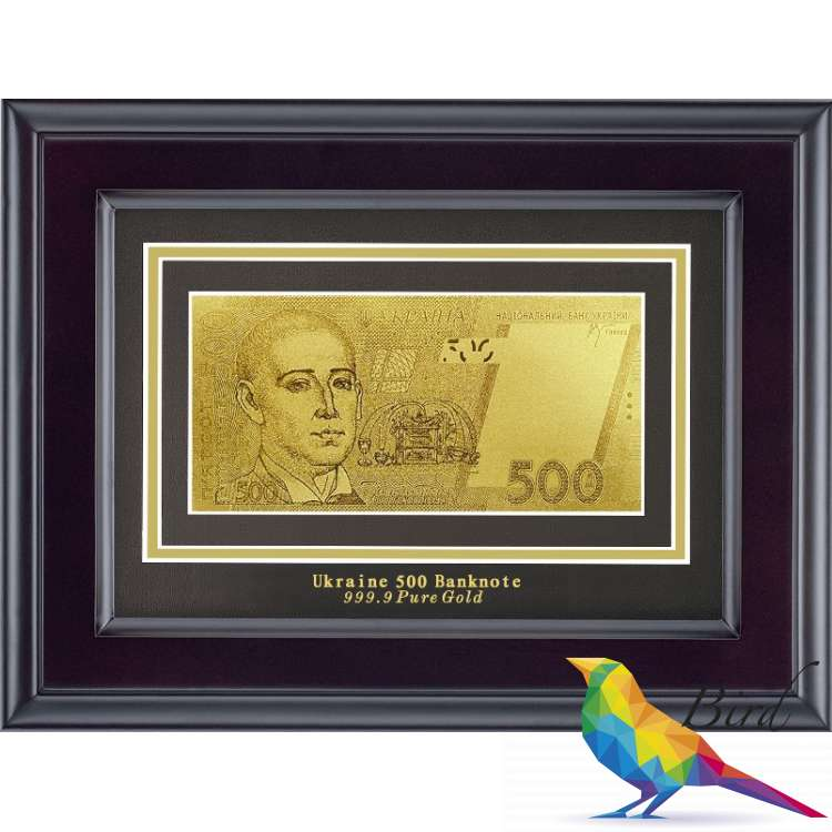 Фото Золотая купюра Golden 500 грн одност. в дерев. рамке 170 HB | Интернет магазин Bird.in.ua