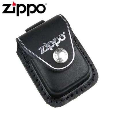 Чехол Zippo черный с петелькой на кнопке LPLBK