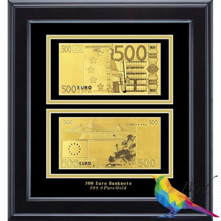 Фото Золотая купюра Golden 500 EURO 2-сторонняя в рамке 092 HB | Интернет магазин Bird.in.ua