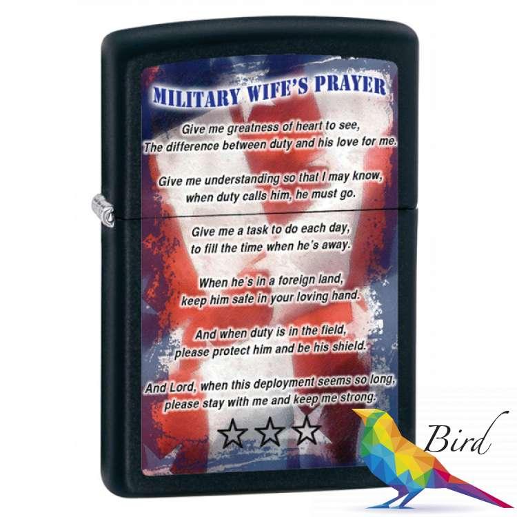Фото Зажигалка Zippo Military Wifes Prayer 28315 | Интернет магазин Bird.in.ua