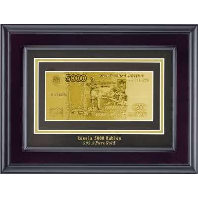 Золотая купюра Golden 5000 рублей 1-сторонняя в рамке 145 HB
