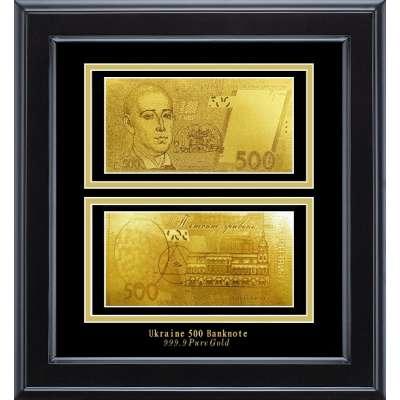 Золотая купюра Golden 500 грн двустор. в дерев. рамке 169 HB