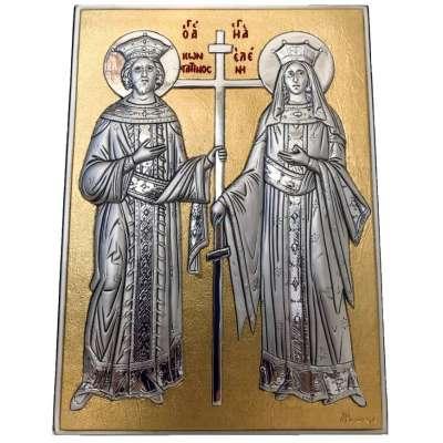 Серебряная Икона Leader Argenti Св. Константин и Св. Елена 130х180 05.13.63D