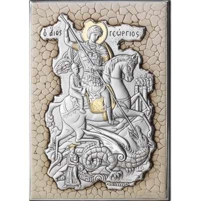 Серебряная Икона  Leader Argenti Георгий Победоносец 100х140 мозаика 05.7599.67W