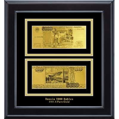 Золотая купюра Golden 5000 рублей двусторонняя в деревянной рамке 144 HB