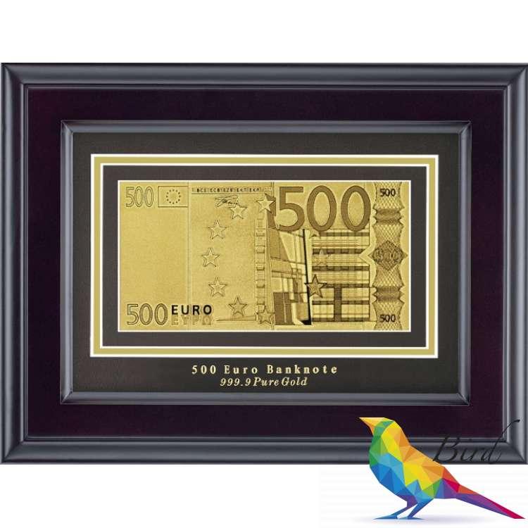 Фото Золотая купюра Golden 500 EURO 1-сторонняя в рамке 045 HB | Интернет магазин Bird.in.ua