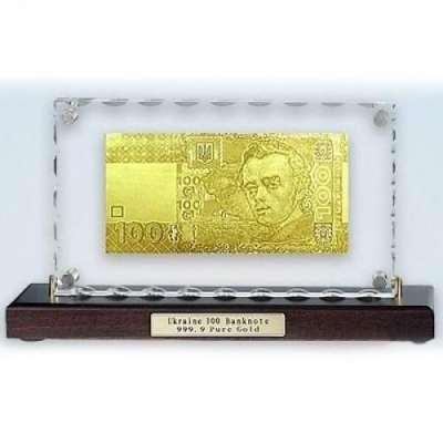 Золотая купюра Golden 100 ГРИВЕН настольная акриловая 127 HB