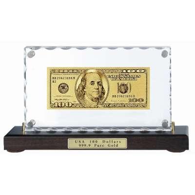 Золотая купюра Golden 100 $ настольная акриловая 079 HB