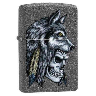 Зажигалка Zippo Wolf Skull Feather Design 29863