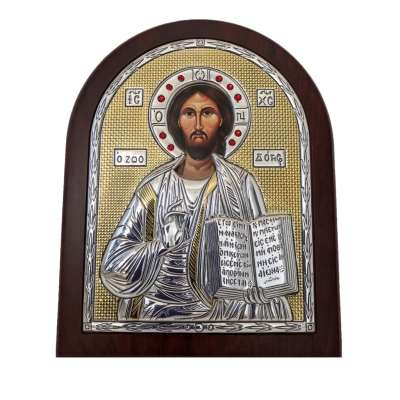 Серебряная Икона Leader Argenti Иисус Христос 110х145 Swarovski 05.3860 OL