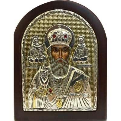 Серебряная Икона Leader Argenti Святой Николай 80х100 Swarovski 05.37279 OL
