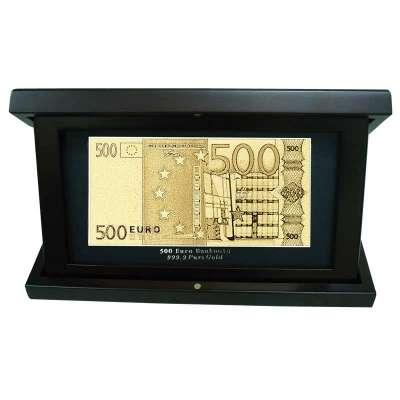 Золотая купюра Golden 500 EURO в деревянной шкатулке 167 HB